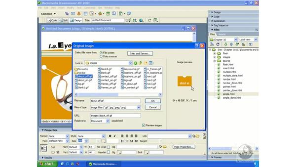 creating a simple rollover: Dreamweaver MX 2004 Essential Training