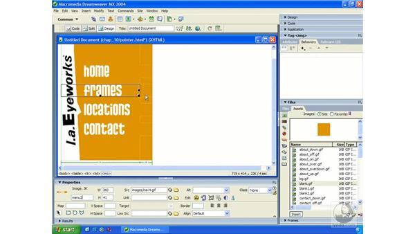 creating pointer rollovers: Dreamweaver MX 2004 Essential Training