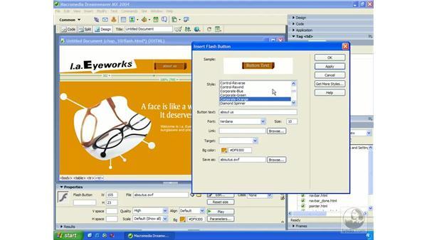 creating Flash buttons: Dreamweaver MX 2004 Essential Training