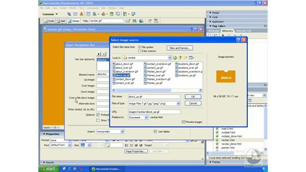 inserting navigation bars: Dreamweaver MX 2004 Essential Training