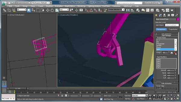 Working with the hand and foot hubs: Getting Started with CAT Rigging Tools in 3ds Max
