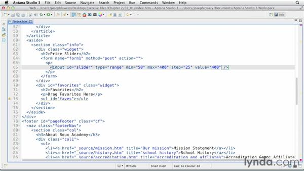 Including range form elements: HTML5 Projects: Engaging Ecommerce