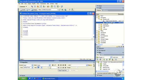 code snippets: Dreamweaver MX 2004 Essential Training