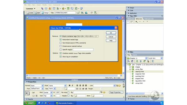 cleaning up XHTML: Dreamweaver MX 2004 Essential Training