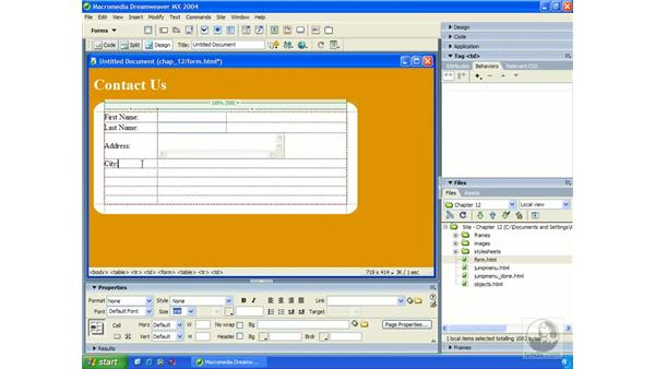 laying out forms with tables: Dreamweaver MX 2004 Essential Training