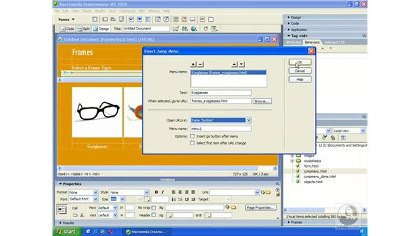 creating jump menu: Dreamweaver MX 2004 Essential Training