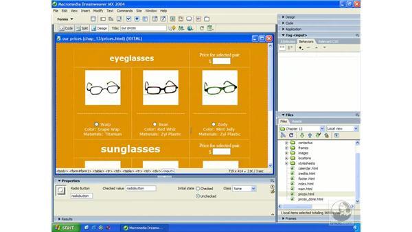 set text of field bar: Dreamweaver MX 2004 Essential Training