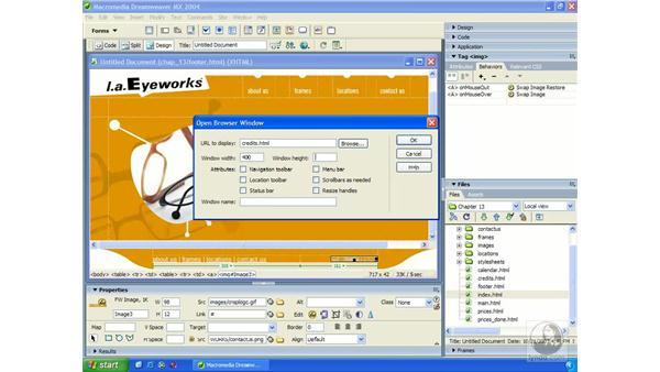open a new browser behavior: Dreamweaver MX 2004 Essential Training