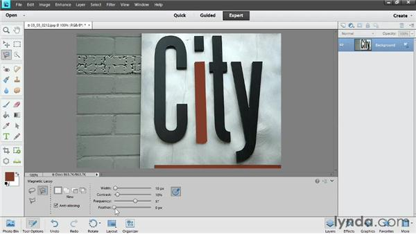 Selecting with the lasso tools: Photoshop Elements 11 Essentials: 02 Editing and Retouching Photos