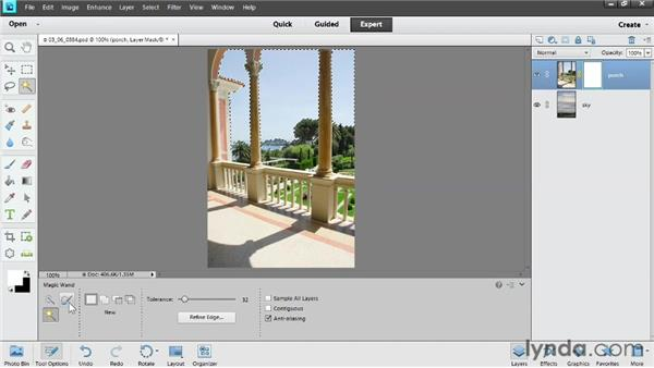 Hiding content with a layer mask: Photoshop Elements 11 Essentials: 02 Editing and Retouching Photos