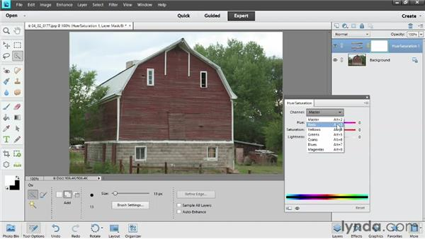 Adjusting color with a Hue/Saturation adjustment layer: Photoshop Elements 11 Essentials: 02 Editing and Retouching Photos