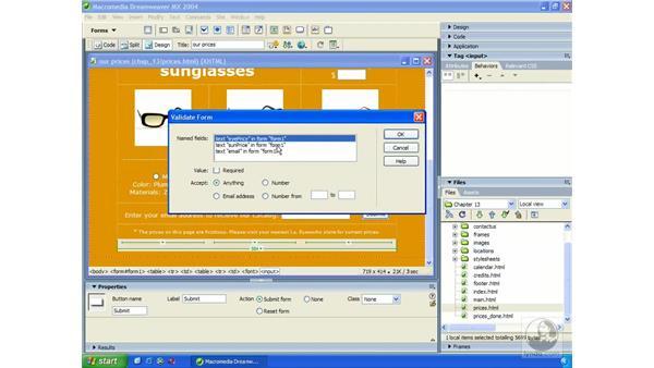 validating forms: Dreamweaver MX 2004 Essential Training