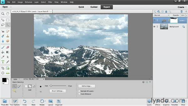 Adjusting part of an image with an adjustment layer: Photoshop Elements 11 Essentials: 02 Editing and Retouching Photos