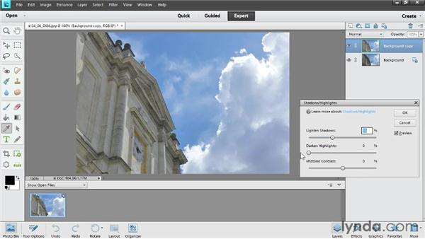 Improving shadows and highlights: Photoshop Elements 11 Essentials: 02 Editing and Retouching Photos
