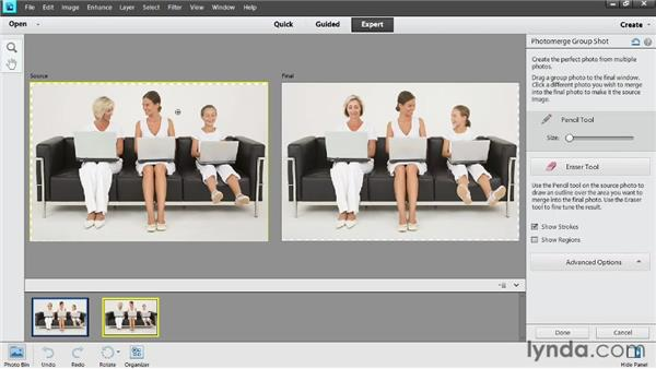 Combining group shots: Photoshop Elements 11 Essentials: 02 Editing and Retouching Photos