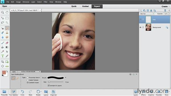 Removing blemishes: Photoshop Elements 11 Essentials: 02 Editing and Retouching Photos