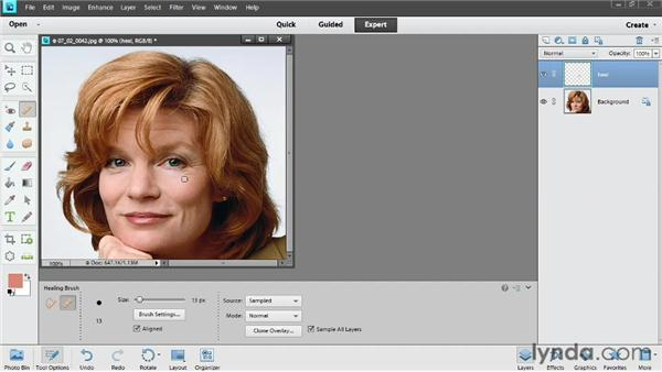 Reducing wrinkles and circles: Photoshop Elements 11 Essentials: 02 Editing and Retouching Photos