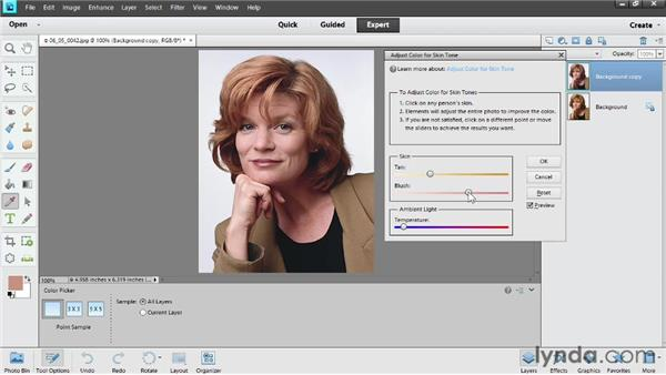 Adjusting skin tone: Photoshop Elements 11 Essentials: 02 Editing and Retouching Photos