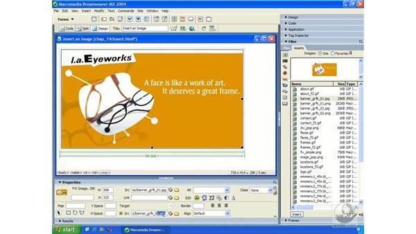 inserting Fireworks images: Dreamweaver MX 2004 Essential Training