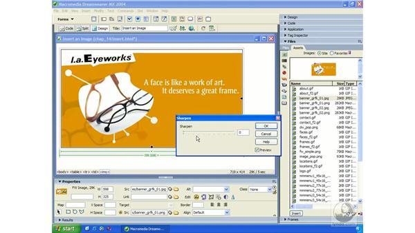 editing Fireworks images in Dreamweaver: Dreamweaver MX 2004 Essential Training