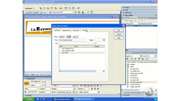 editing a Fireworks pop-up menu: Dreamweaver MX 2004 Essential Training