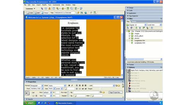using the history panel: Dreamweaver MX 2004 Essential Training