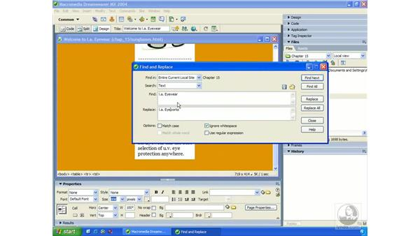 using find and replace: Dreamweaver MX 2004 Essential Training