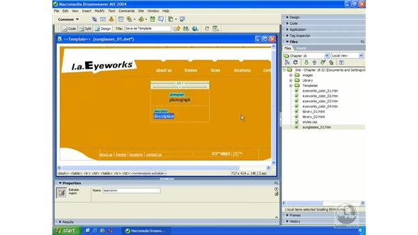 creating new templates: Dreamweaver MX 2004 Essential Training