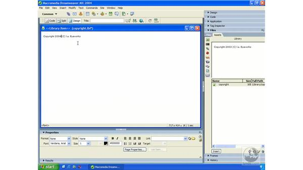 library items in action: Dreamweaver MX 2004 Essential Training