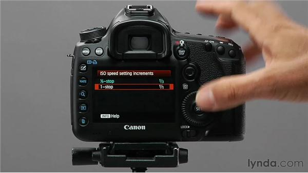 Changing ISO speed setting increments: Shooting with the Canon 5D Mark III