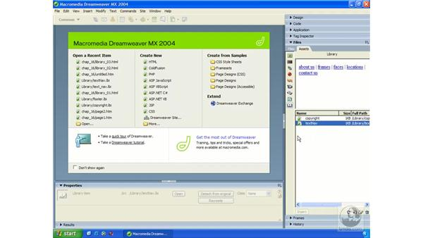 modifying a library item: Dreamweaver MX 2004 Essential Training