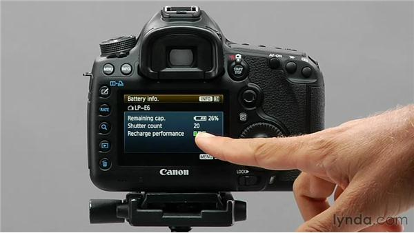 Using the Battery Info command: Shooting with the Canon 5D Mark III