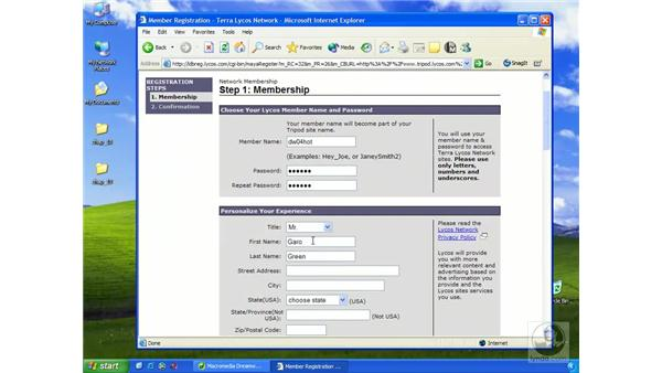 signing up with Tripod: Dreamweaver MX 2004 Essential Training