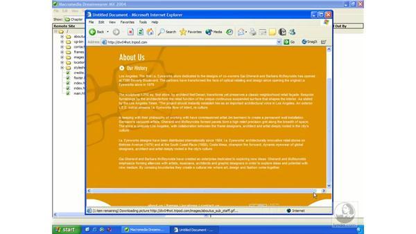 uploading files to a web server: Dreamweaver MX 2004 Essential Training