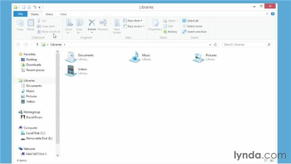Using the new Ribbon in the File Explorer: Windows 8 Essential Training