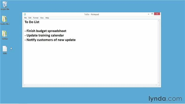 Typing text with Notepad and WordPad: Windows 8 Essential Training