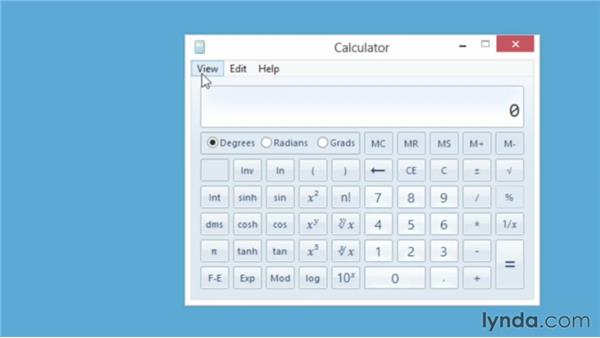 Performing simple and advanced calculations with the Calculator: Windows 8 Essential Training