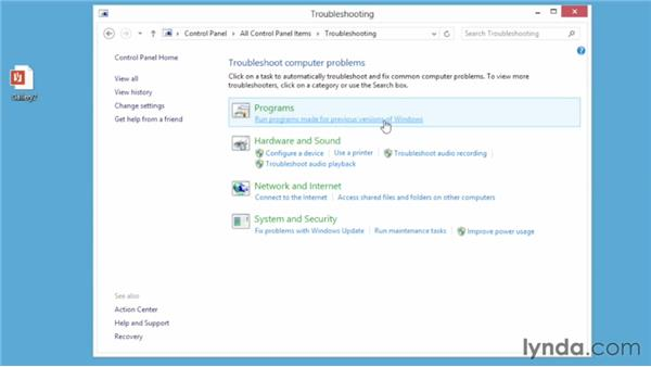 Finding issues in the Troubleshooting control panel: Windows 8 Essential Training