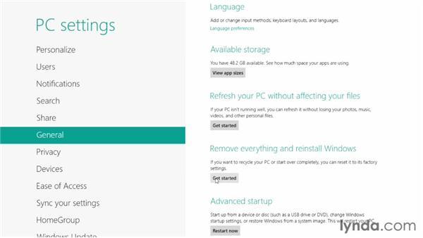 Resetting your Windows 8 installation: Windows 8 Essential Training