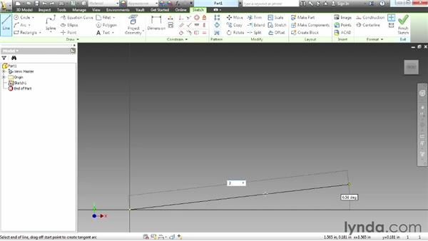 Drawing with the Line tool: Up and Running with Autodesk Inventor
