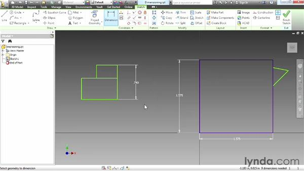 Dimensioning a part: Up and Running with Autodesk Inventor