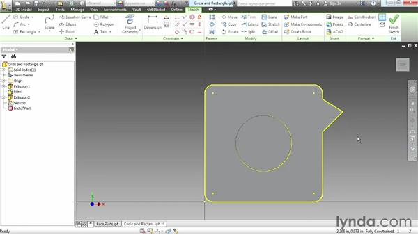Creating circles and rectangles: Up and Running with Autodesk Inventor