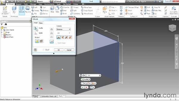 Creating a base extrusion: Up and Running with Autodesk Inventor