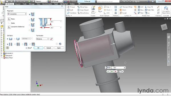Creating holes: Up and Running with Autodesk Inventor