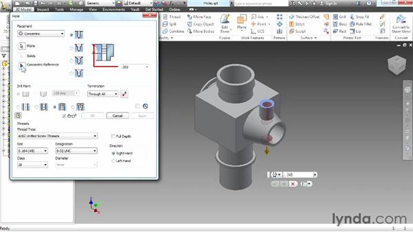 Creating a threaded hole: Up and Running with Autodesk Inventor