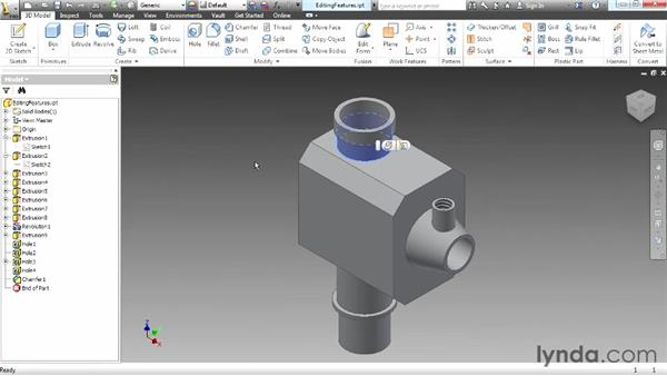 Editing part features: Up and Running with Autodesk Inventor