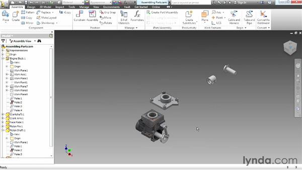 Assembling parts: Up and Running with Autodesk Inventor