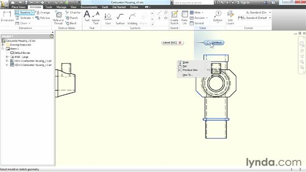 Creating baseline dimensions: Up and Running with Autodesk Inventor