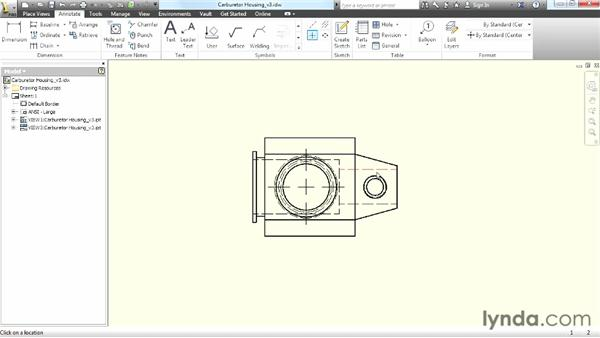 Creating center lines, center marks, and hole notes: Up and Running with Autodesk Inventor