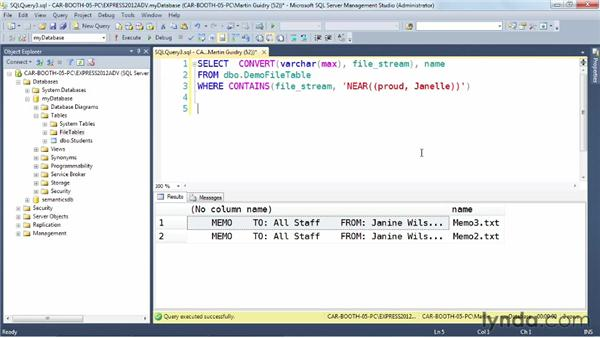 Exploring enhancements to full text search: SQL Server 2012 New Features
